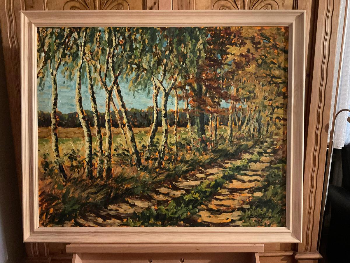 Birkenweg im Herbst 1986, 75 cm x 60 cm, Öl auf Hartfaserplatte