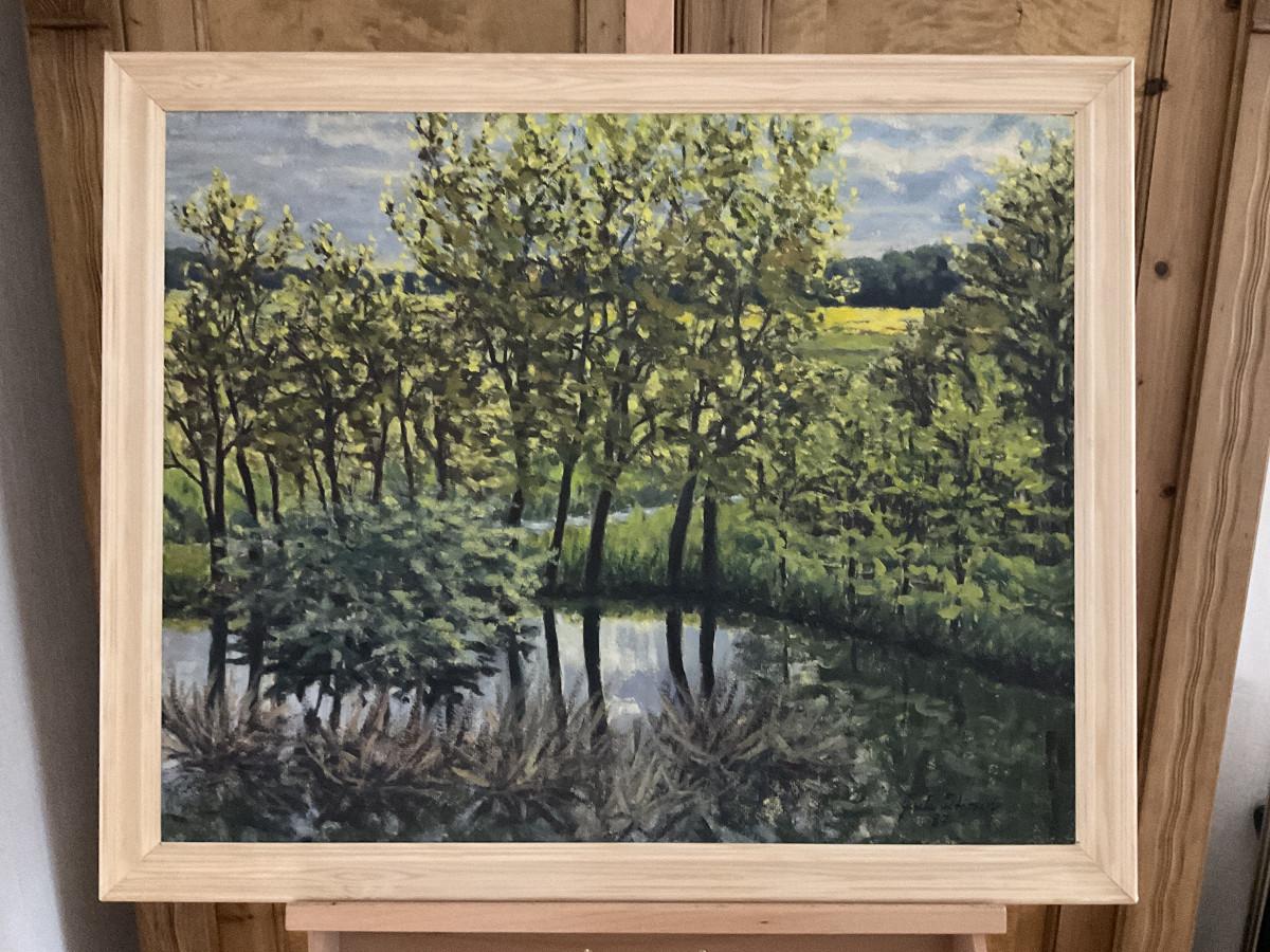 Frühling hinterm Deich 1987, 75 cm x 60 cm, Öl auf Hartfaserplatte