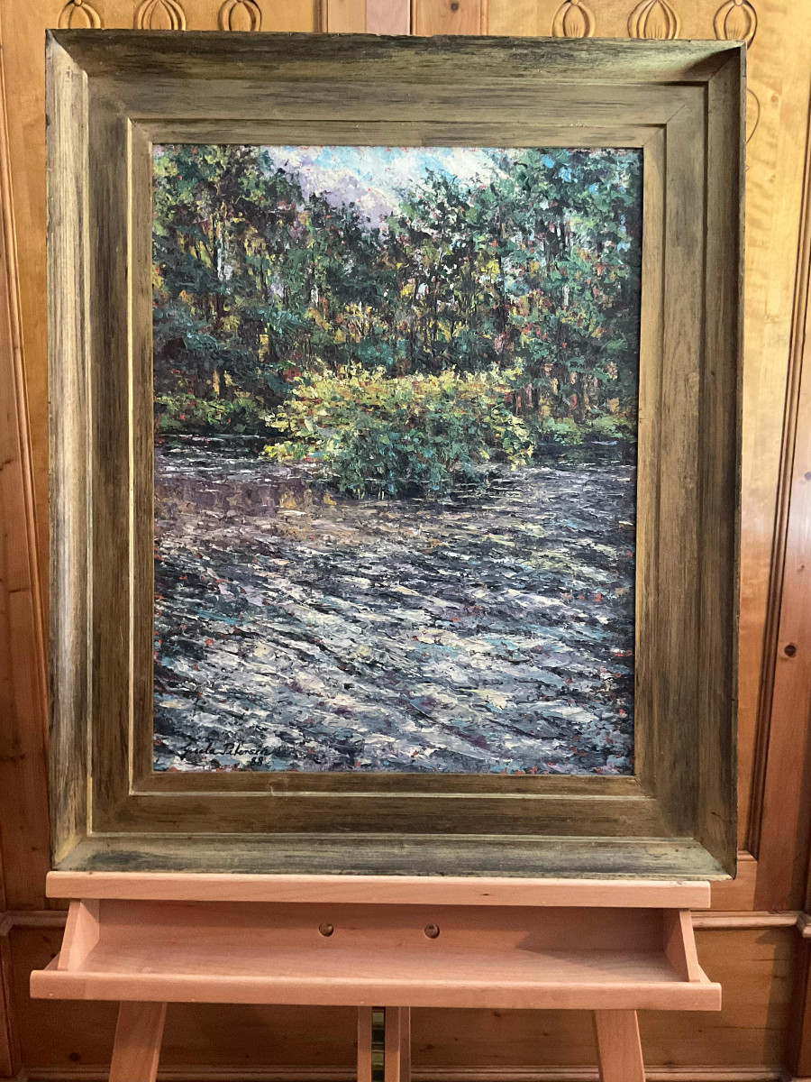 Herbstwetter am Teich 1988, 43 cm x 56 cm, Öl auf Hartfaserplatte, Spachteltechnik