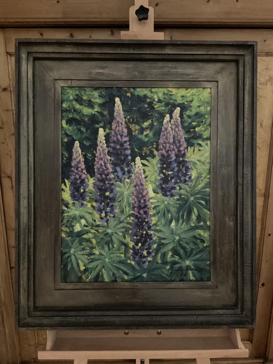 Lupinen 1986, 50 cm x 60 cm, Öl auf Hartfaserplatte