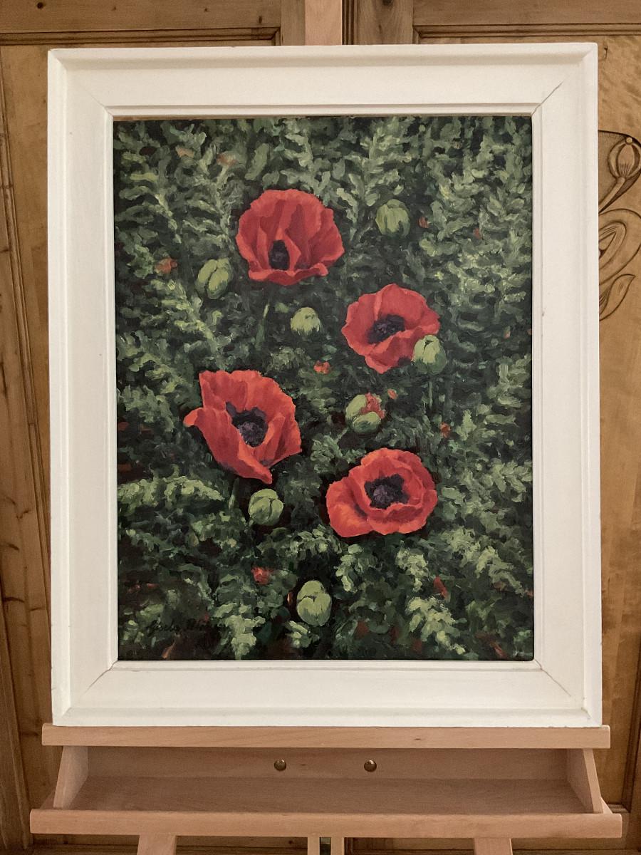 Mohnblüten 1985, 43 cm x 56 cm, Öl auf Hartfaserplatte
