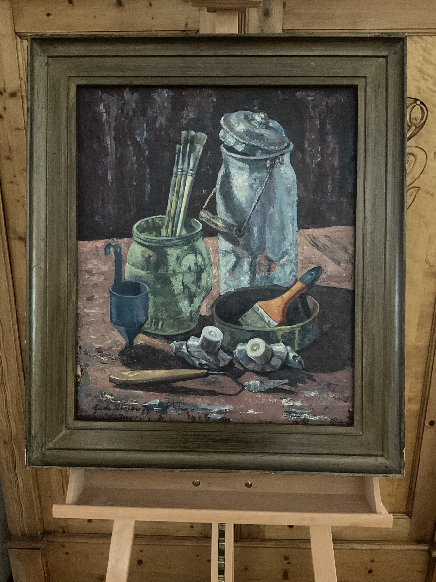 Stillleben mit Milchkanne 1987, 50 cm x 60 cm, Öl auf Hartfaserplatte, Spachteltechnik