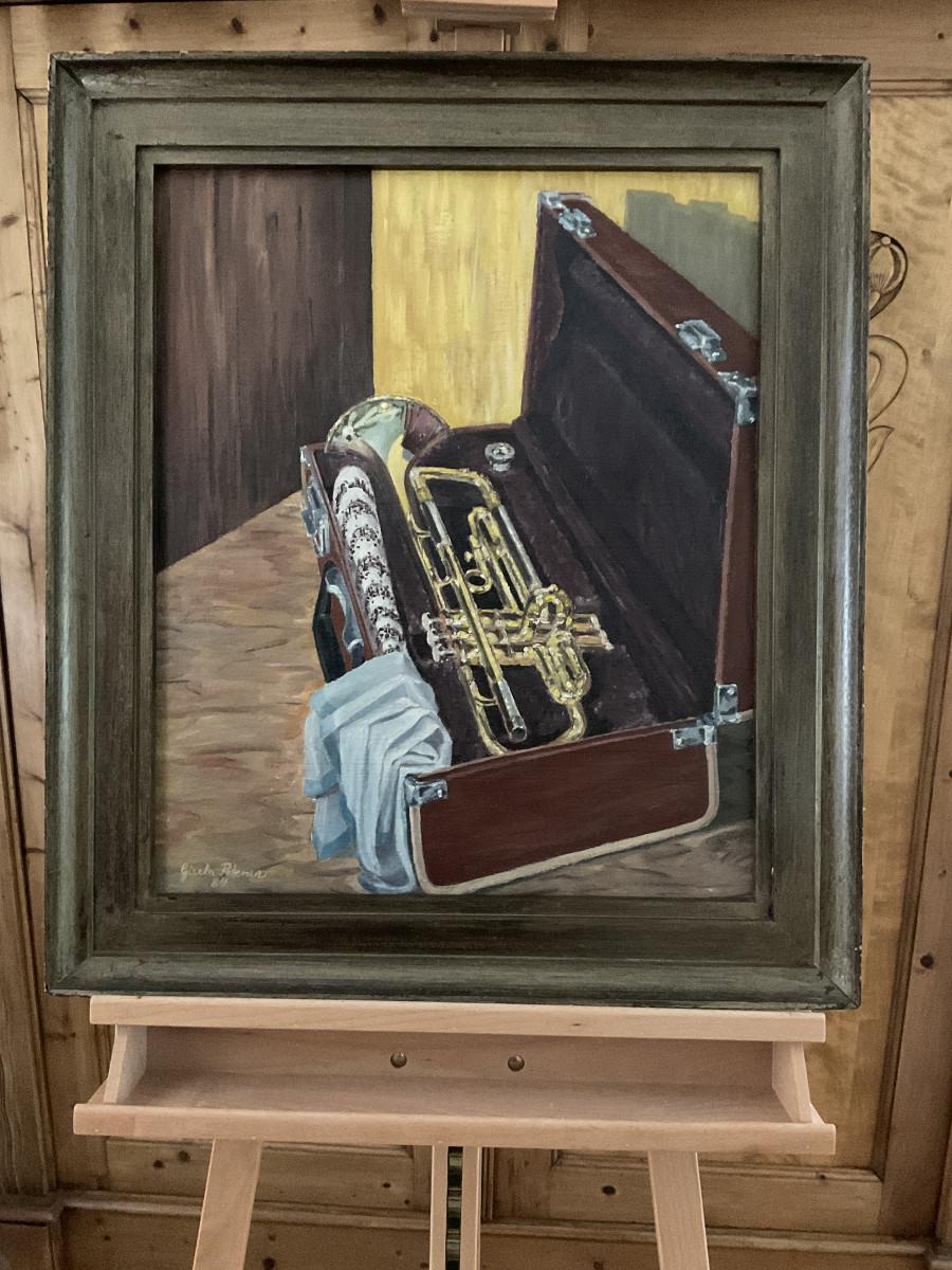 Trompete im Koffer 1984, 50 cm x 60 cm, Öl auf Hartfaserplatte