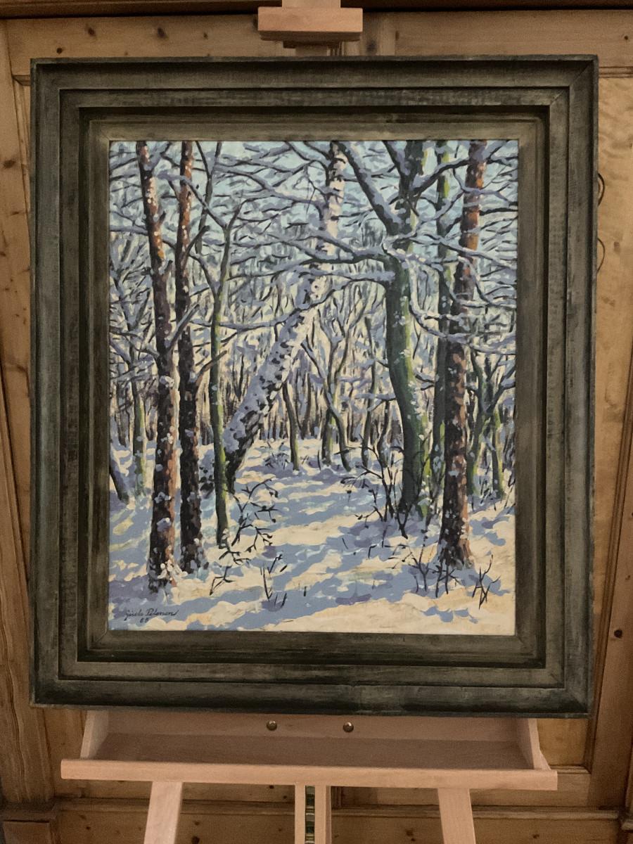 Winter im Wald 1985, 50 cm x 60 cm, Öl auf Hartfaserplatte