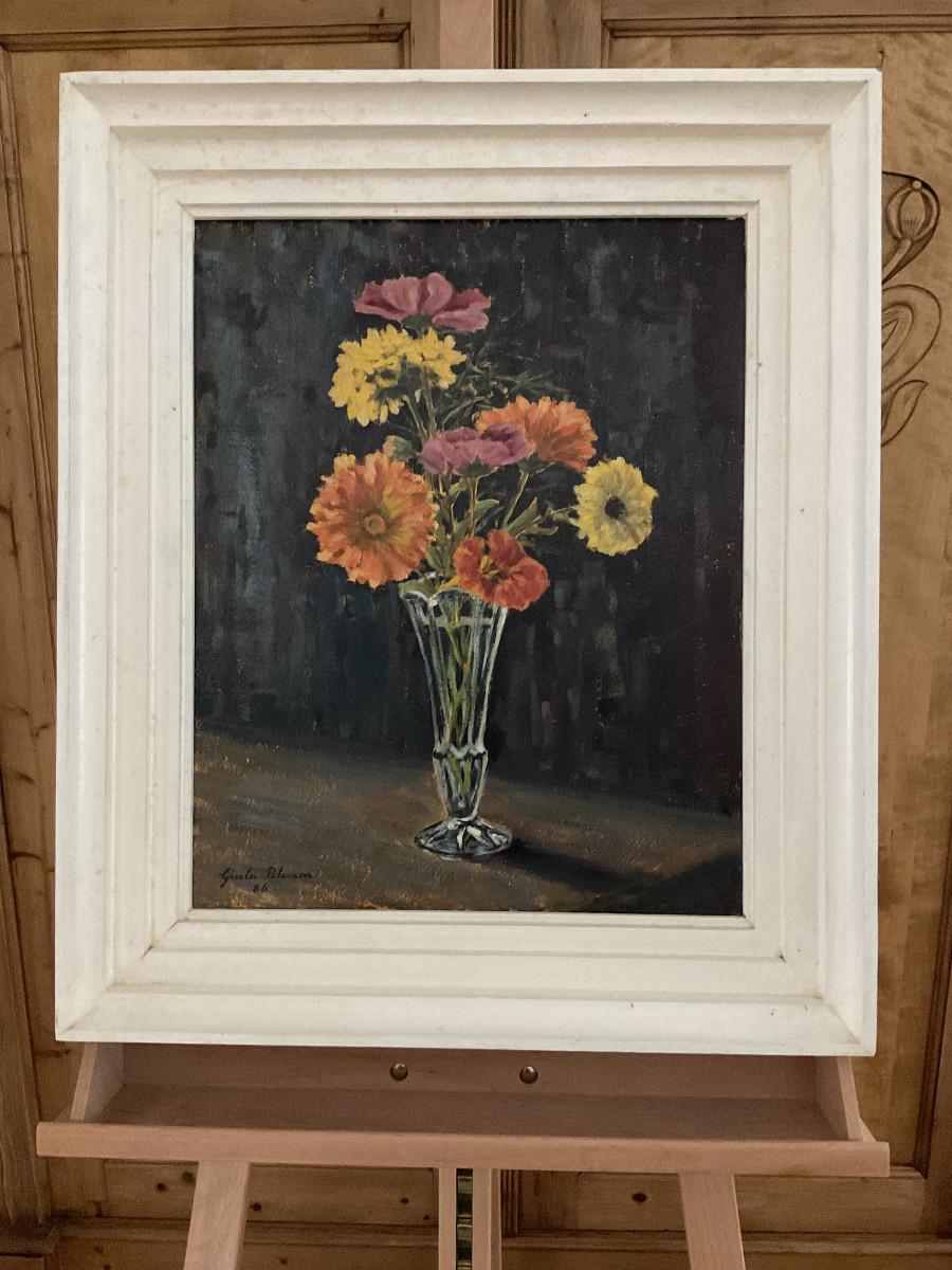 Letzte Sommerblumen 1986, 40 cm x 50 cm, Öl auf Hartfaserplatte