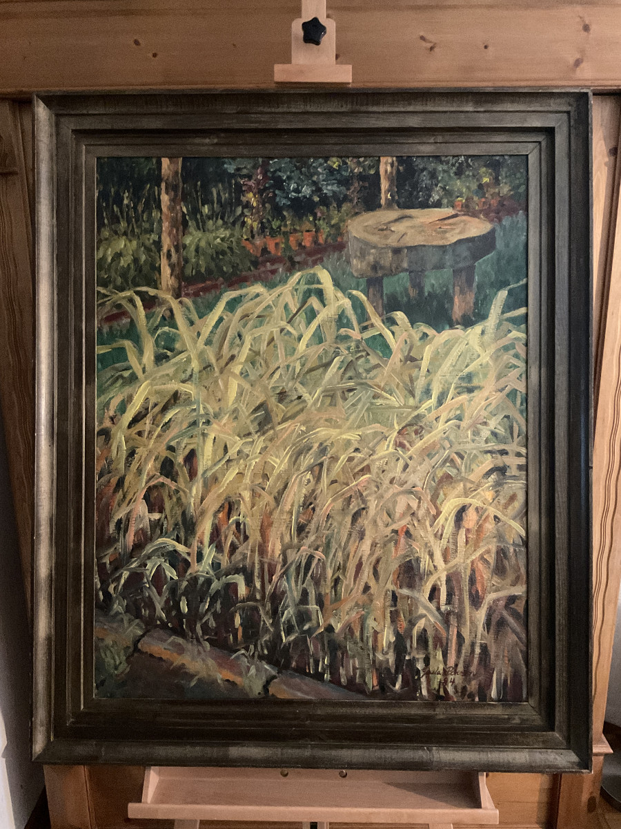 Schilf im Garten 1984, 70 cm x 87 cm, Öl auf Hartfaserplatte