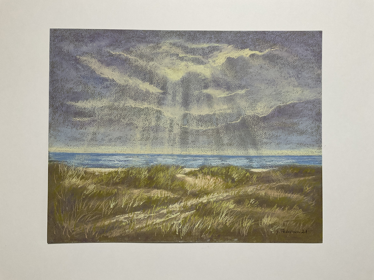 Am Meer 2, freie Komposition, Pastell, 30 cm x 40 cm