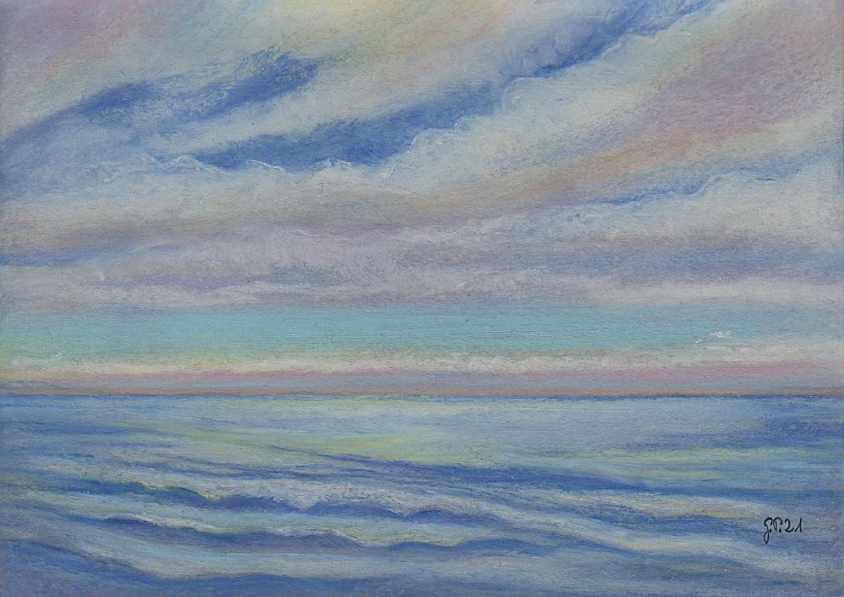 Am Meer 4, freie Komposition, Pastell, DIN A 5