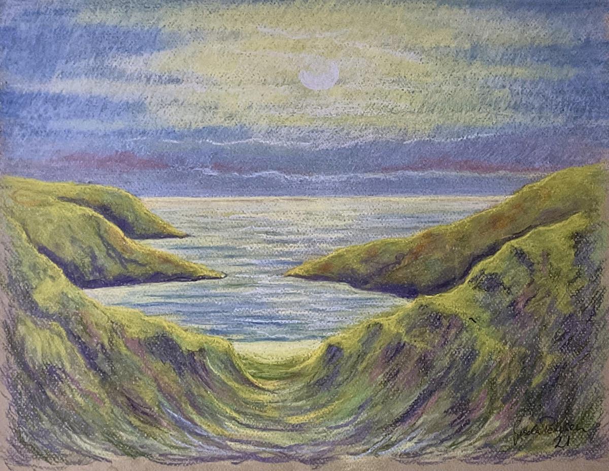 An einem Gestade, freie Komposition, Pastell, 32 cm x 41 cm