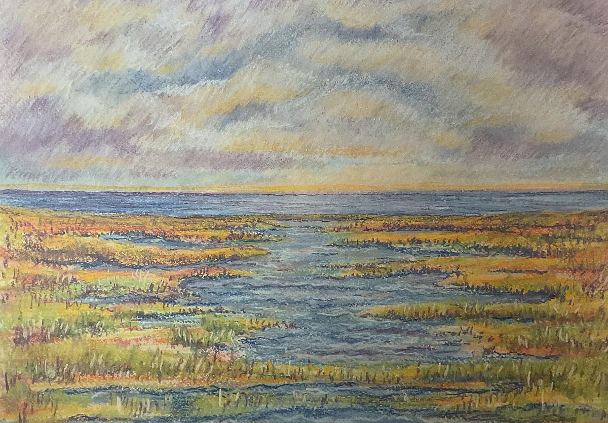 An einem großen Wasser, freie Komposition, Pastell, 30 cm x 40 cm