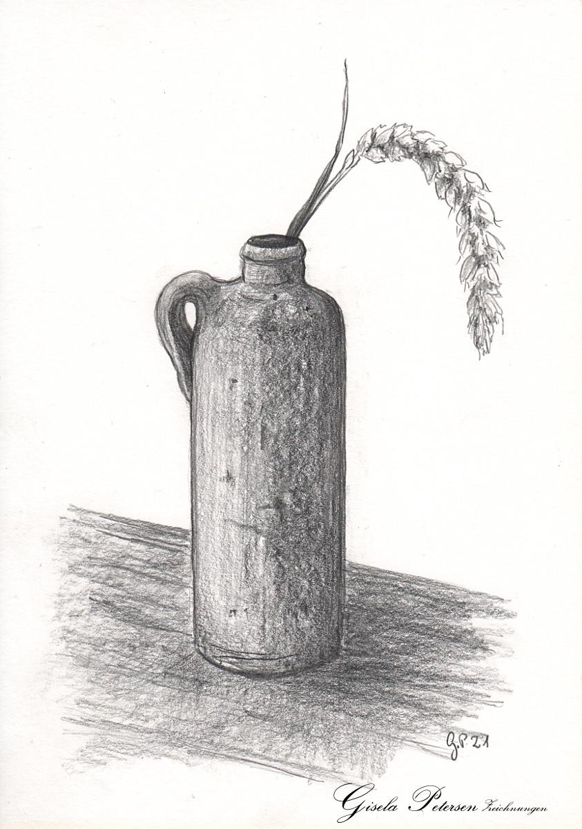 Alte Tonvase mit Weizenähre, Zeichnung mit Bleistiften B4 DIN A5