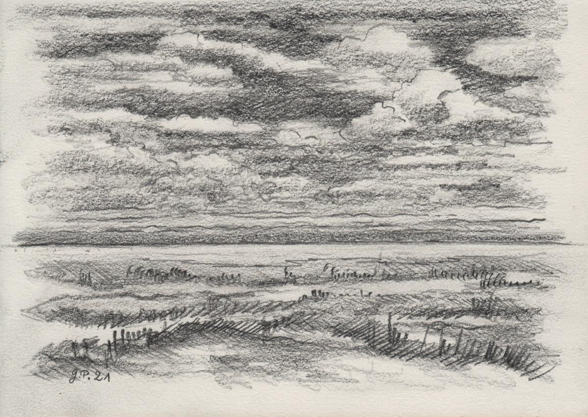 freier Entwurf einer Landschaft, Zeichnung mit Bleistift 2B/4B DIN A 5
