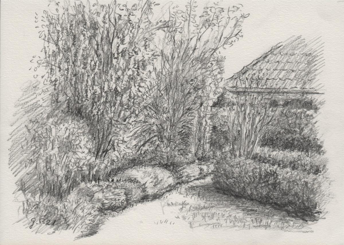 Gartenskizze, Zeichnung mit Bleistift 2B DIN A 5