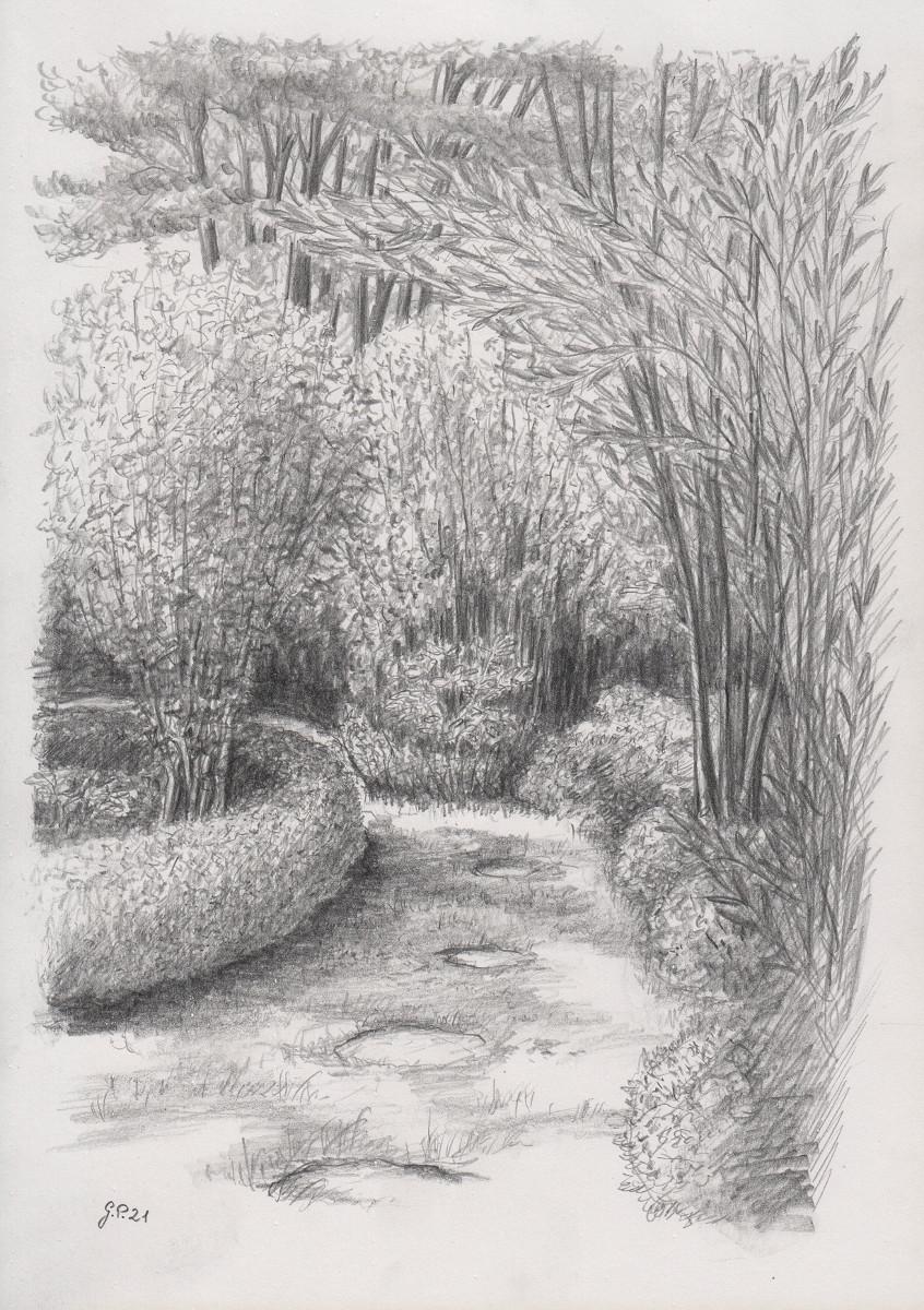 Im Garten, Zeichnung mit Bleistift 2B DIN A 4