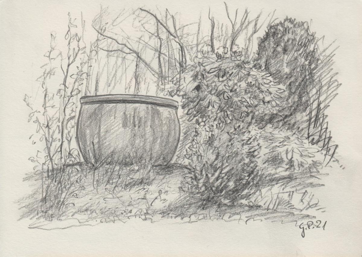 Keramiktopf im Garten, Zeichnung mit Bleistift DIN A 5