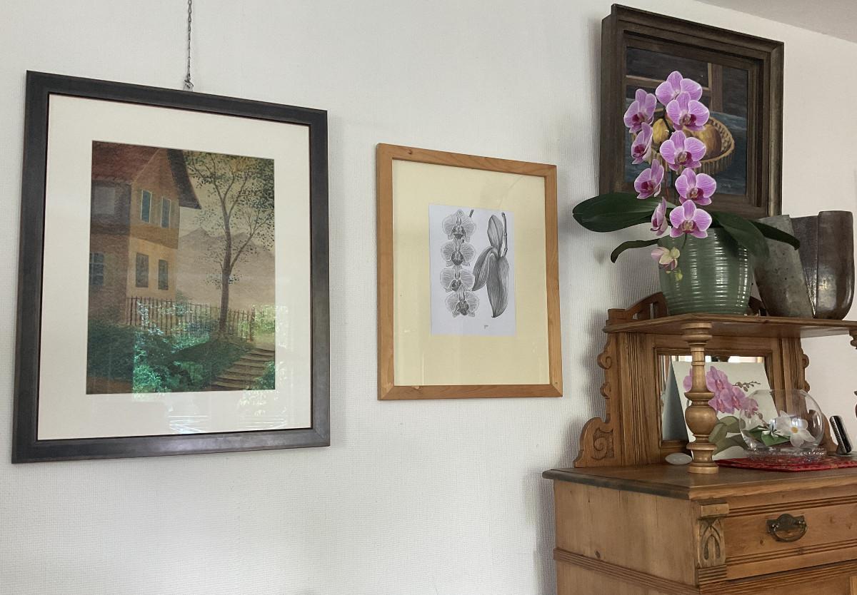 Orchideenblüten, Zeichnung mit Bleistift B2 /B4DIN A 4