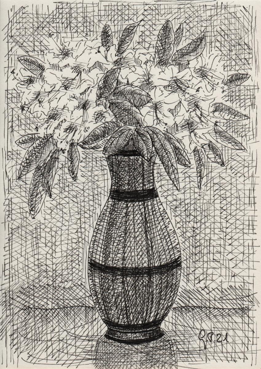 Rhododendronblüten in einer Vase, Zeichnung mit Fineliner DIN A 5