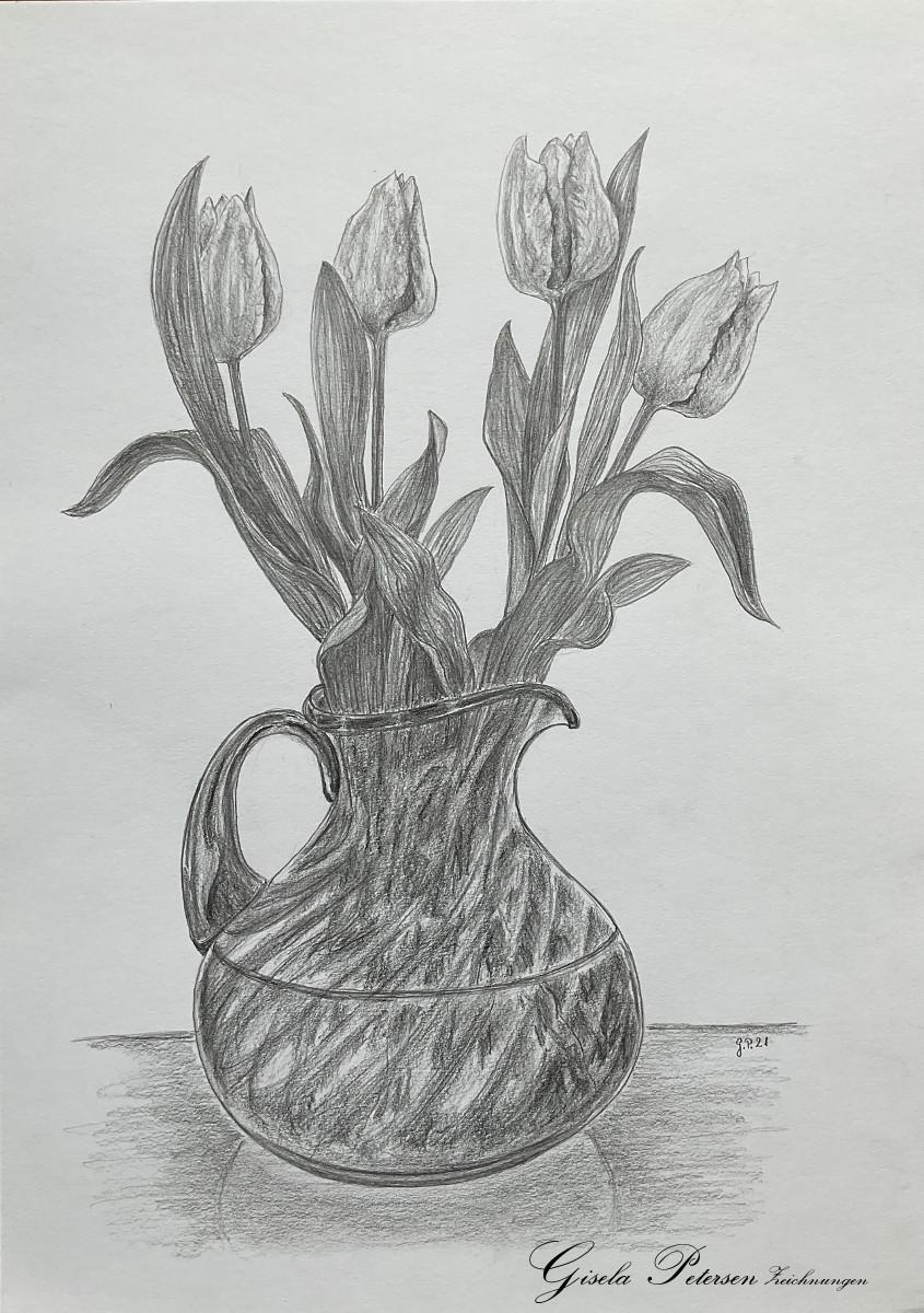 Tulpen in einer Glasvase, Zeichnung mit Bleistiften B2/B4 DIN A3