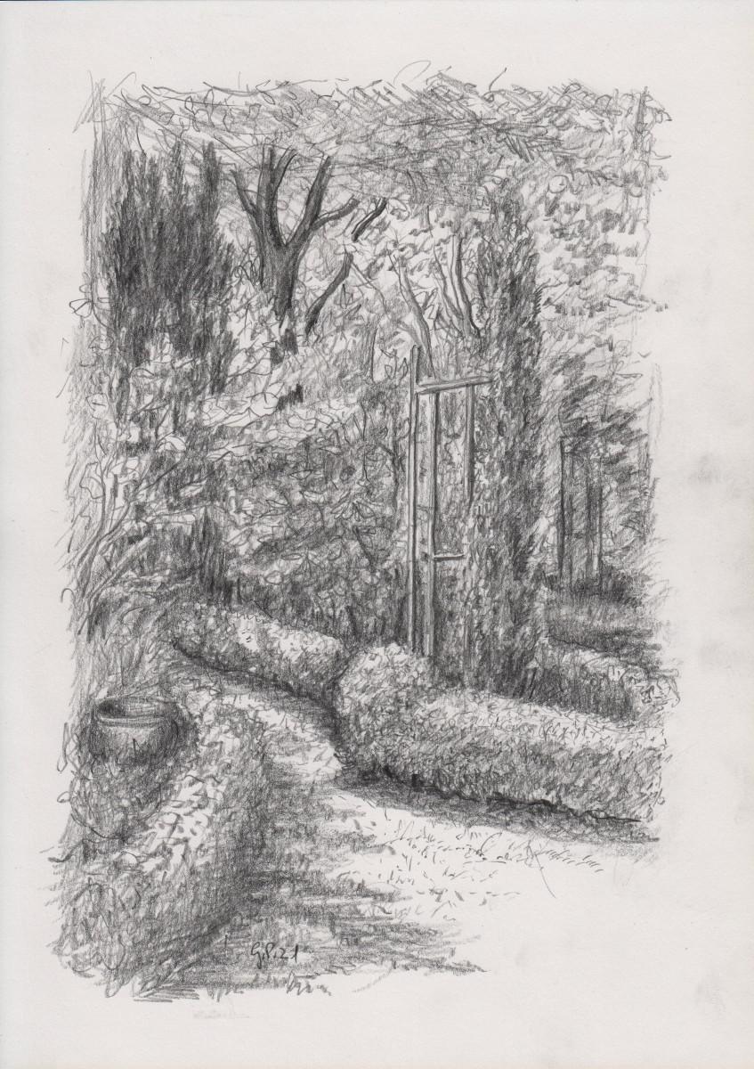 Winkel im Garten, Zeichnung mit Bleistift DIN A 4