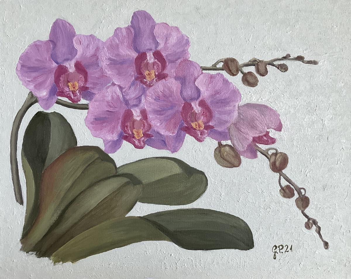 Orchideenblüten hellviolett 2021, Öl auf Leinwandkarton, 24 cm x 30 cm