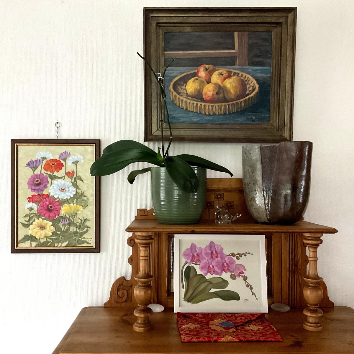 Zinnien, Orchidee, Äpfel