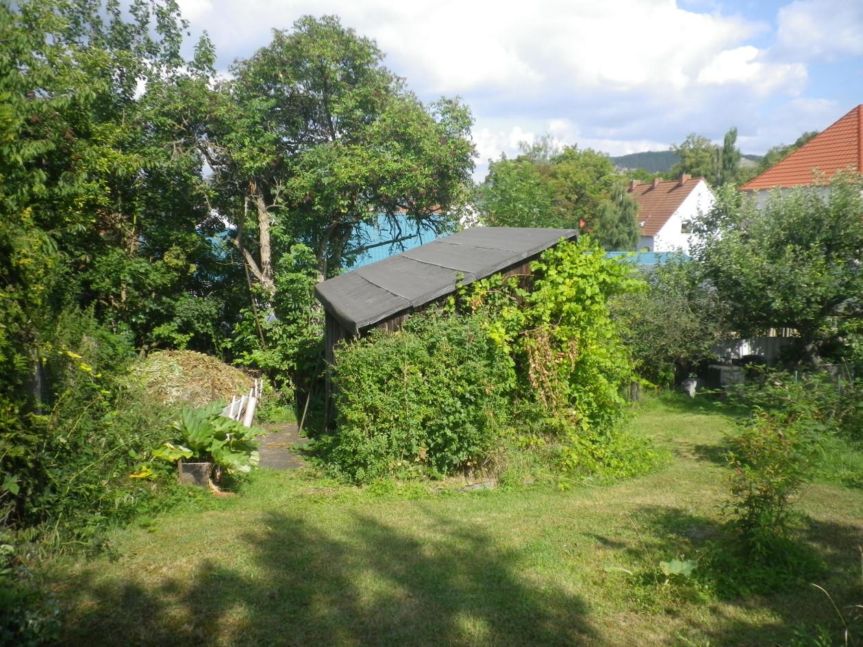 unteres Viertel -Kompost und alte Hütte mit Wein
