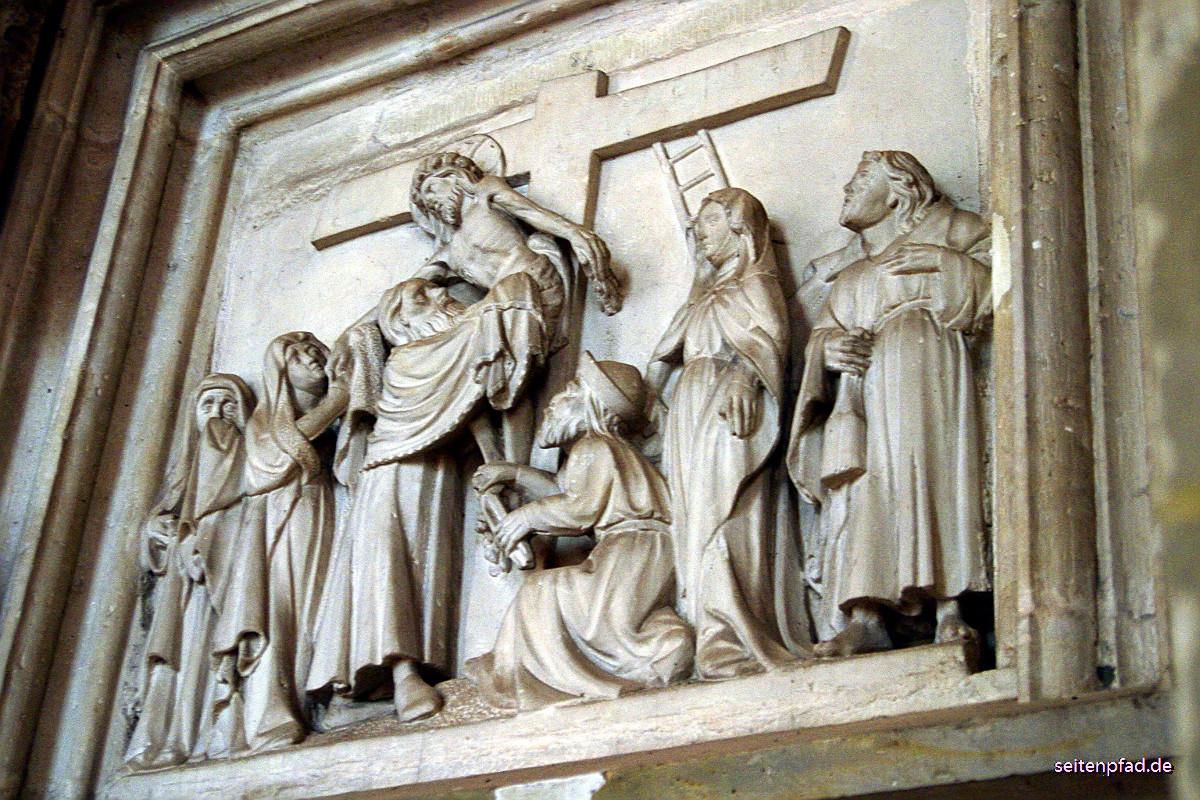 Sandsteinrelief mit Szene aus dem Leben Jesu
